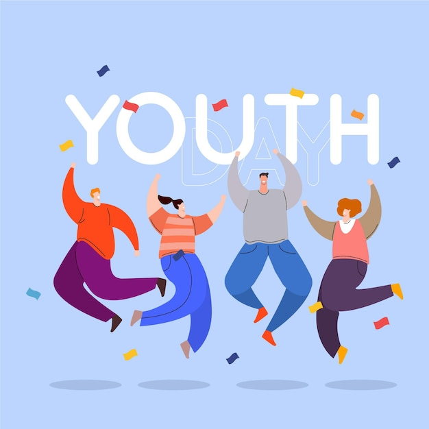 Conceito de dia da juventude de design plano Vetor Premium