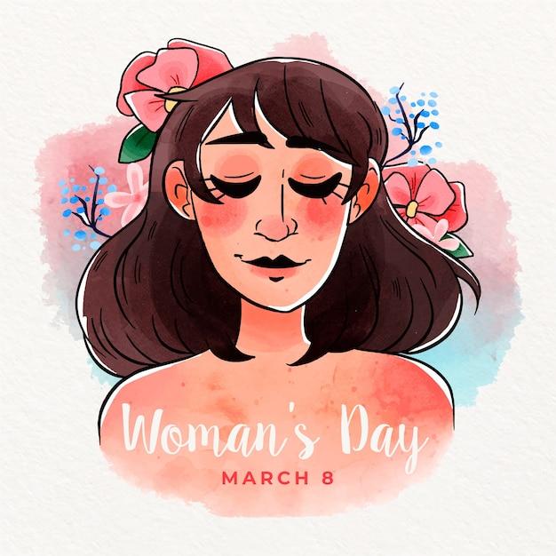 Conceito de dia da mulher em aquarela colorida Vetor grátis