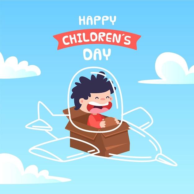 Conceito de dia das crianças em design plano Vetor grátis