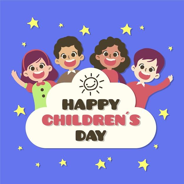 Conceito de dia das crianças na mão desenhada Vetor grátis