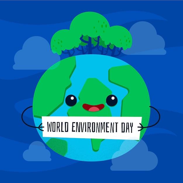 Conceito de dia de ambiente mundial de design plano Vetor grátis