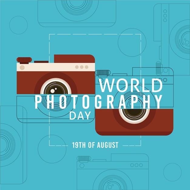 Conceito de dia de fotografia de mundo de design plano Vetor Premium