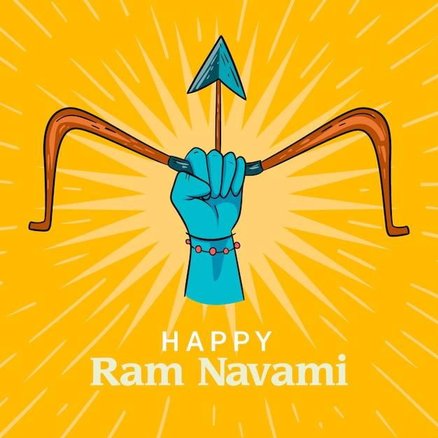 Conceito de dia de navami ram feliz desenhados à mão Vetor grátis