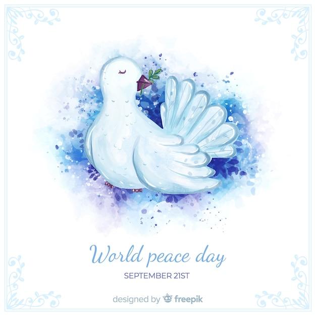 Conceito de dia de paz com pomba aquarela Vetor grátis