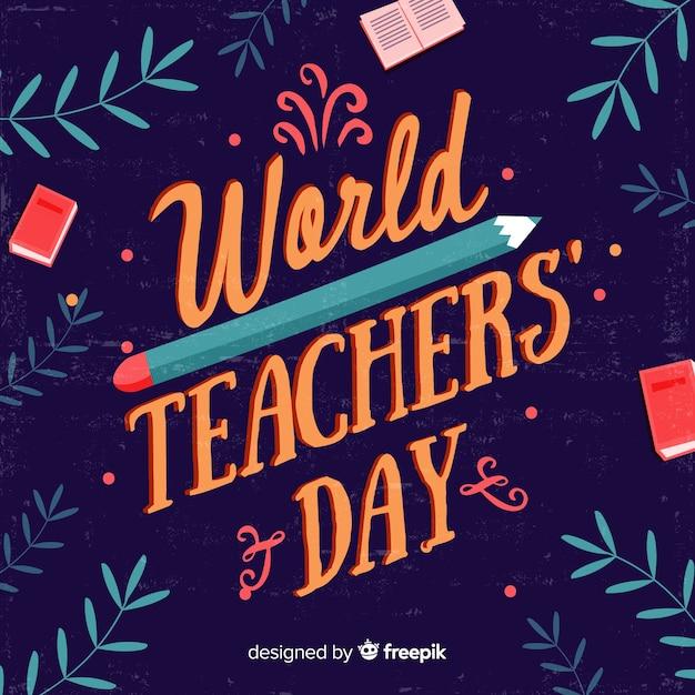 Conceito de dia de professores com letras Vetor grátis