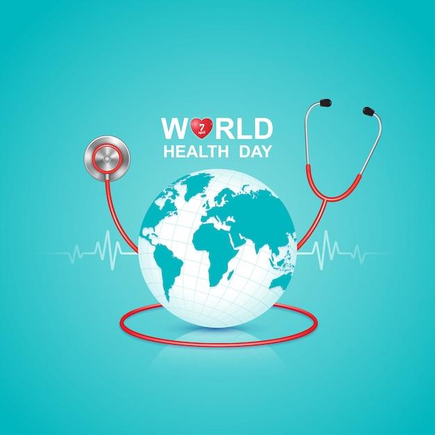 Conceito de dia de saúde do mundo para cuidados de saúde e médicos Vetor Premium