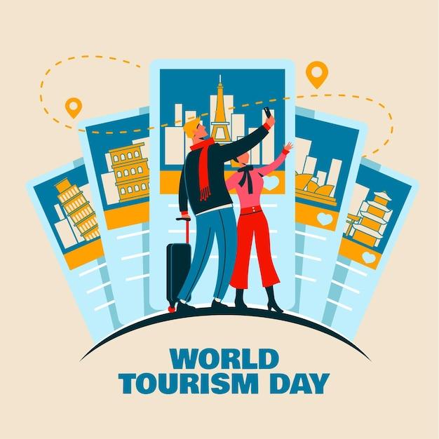 Conceito de dia de turismo desenhado à mão Vetor grátis