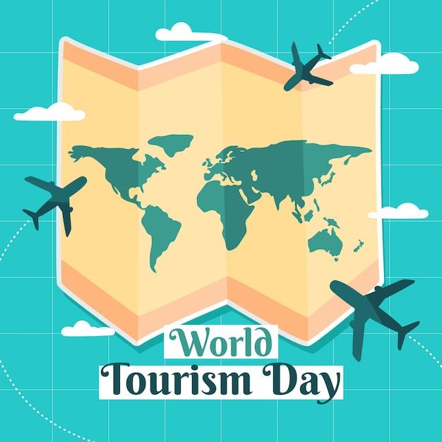 Conceito de dia de turismo desenhado à mão Vetor Premium