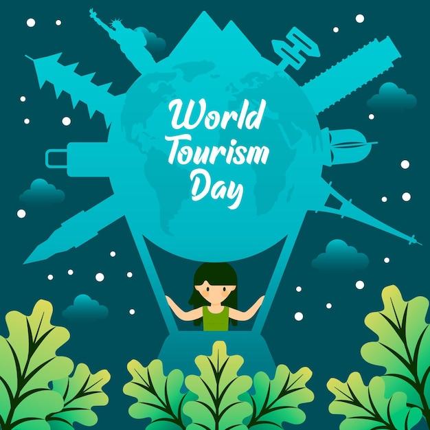 Conceito de dia de turismo em mundo plano Vetor grátis