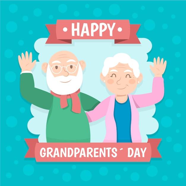 Conceito de dia dos avós nacionais de design plano Vetor grátis