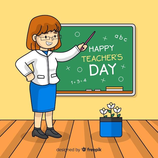 Conceito de dia dos professores com fundo de mão desenhada Vetor grátis