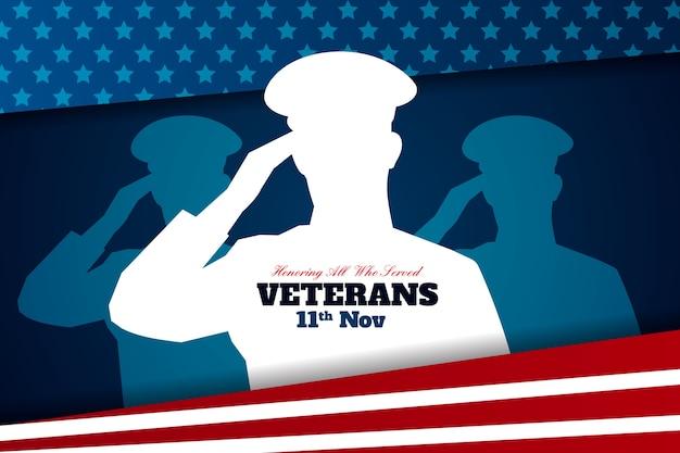 Conceito de dia dos veteranos em design plano Vetor grátis