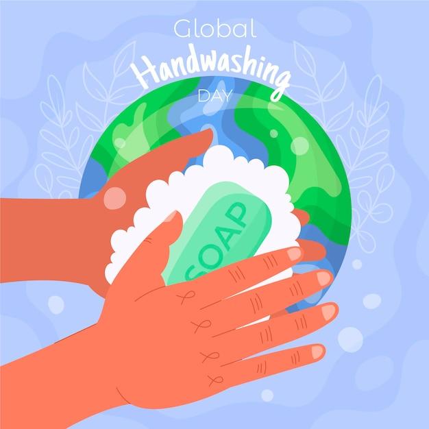 Conceito de dia global de lavagem das mãos Vetor grátis