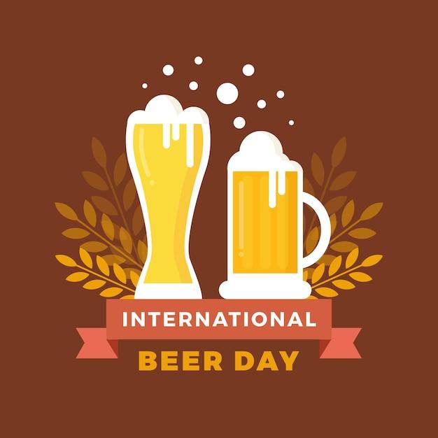 Conceito de dia internacional da cerveja de design plano Vetor Premium