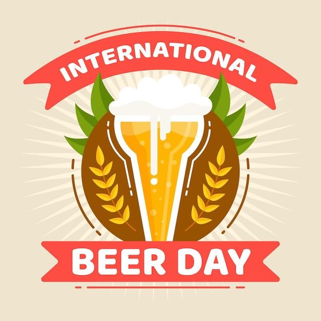 Conceito de dia internacional da cerveja de design plano Vetor grátis