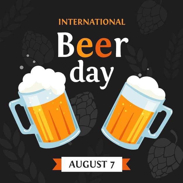 Conceito de dia internacional da cerveja plana Vetor grátis