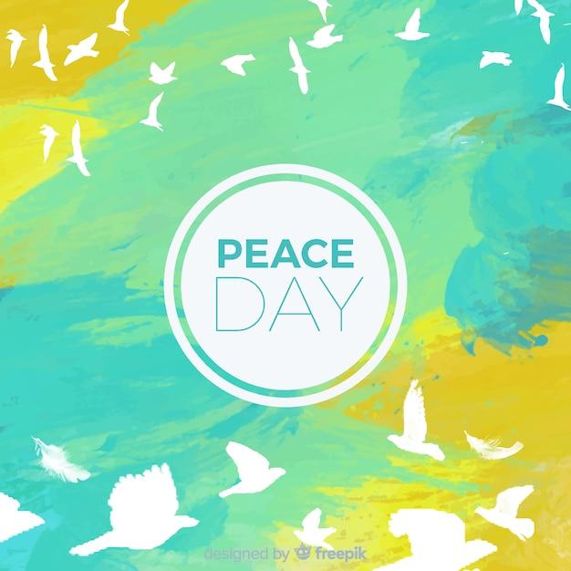 Conceito de dia internacional da paz aquarela com pomba branca Vetor grátis
