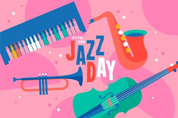 Conceito de dia internacional do jazz plana Vetor grátis