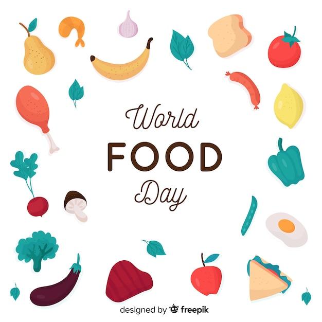 Conceito de dia mundial da comida com fundo design plano Vetor grátis