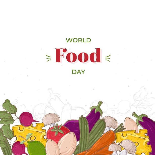 Conceito de dia mundial da comida desenhado à mão Vetor grátis