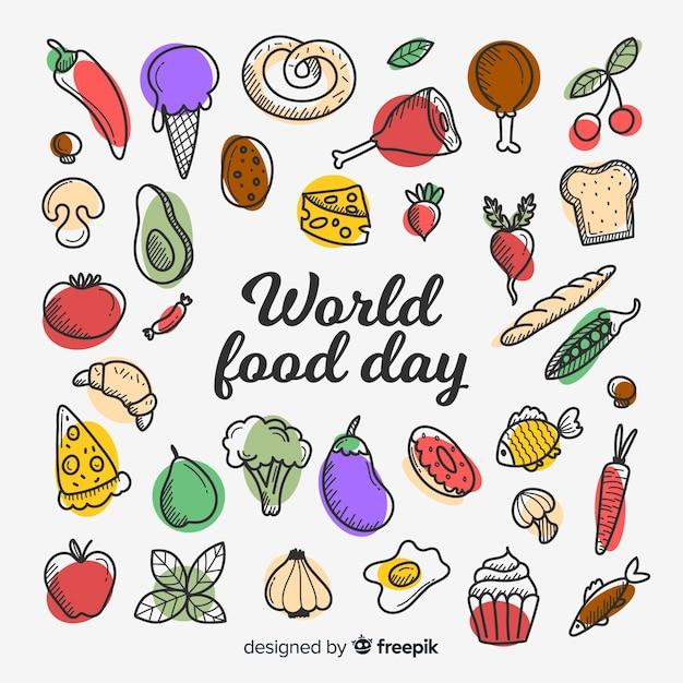 Conceito de dia mundial da comida em design plano Vetor grátis