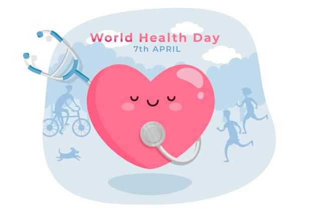 Conceito de dia mundial da saúde plana Vetor grátis