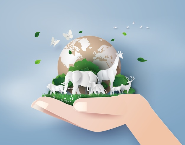 Conceito de dia mundial da vida selvagem com o animal na floresta, Vetor Premium