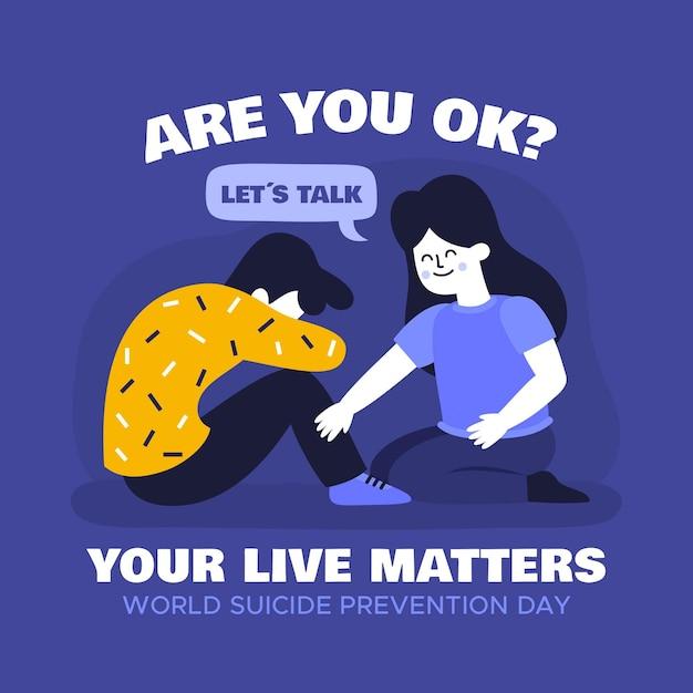 Conceito de dia mundial de prevenção do suicídio Vetor grátis