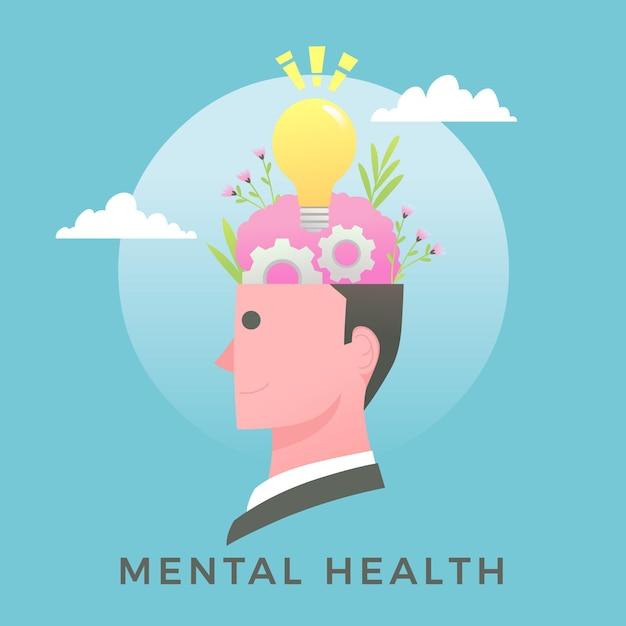 Conceito de dia mundial de saúde mental de design plano Vetor grátis