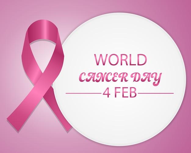 Conceito de dia mundial do câncer com design de fita rosa. Vetor Premium