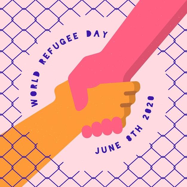 Conceito de dia mundial do refugiado design plano Vetor grátis