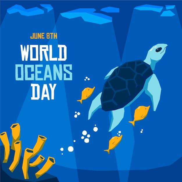 Conceito de dia mundial dos oceanos design plano Vetor grátis