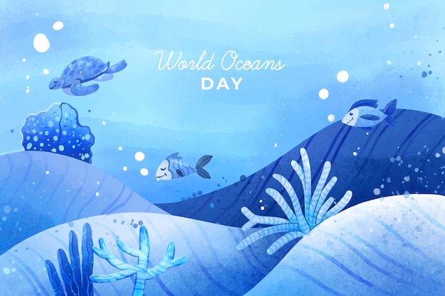 Conceito de dia mundial dos oceanos Vetor grátis