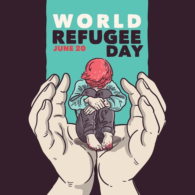 Conceito de dia mundial dos refugiados Vetor Premium