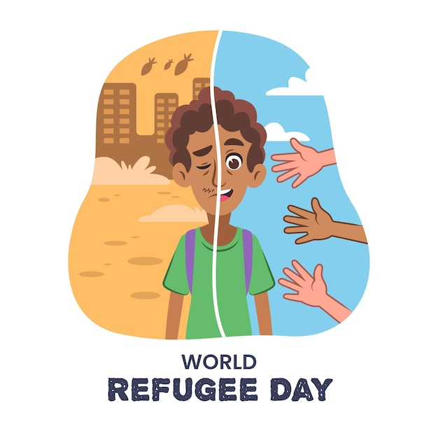 Conceito de dia mundial dos refugiados Vetor grátis