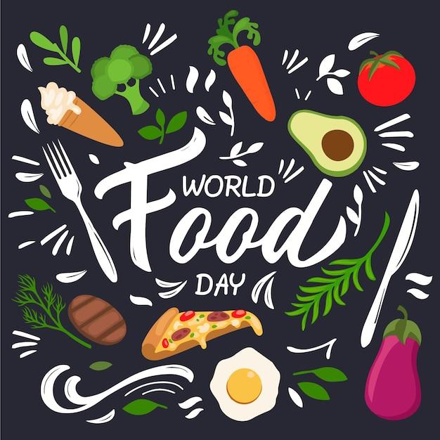 Conceito de dia mundial plano da comida Vetor grátis