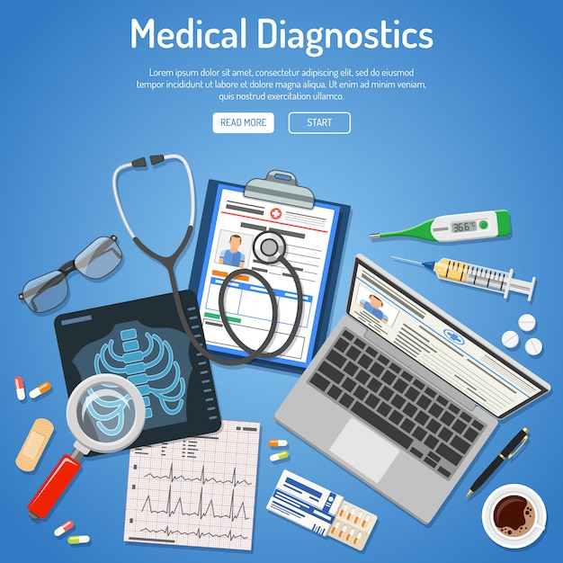 Conceito de diagnósticos médicos Vetor Premium