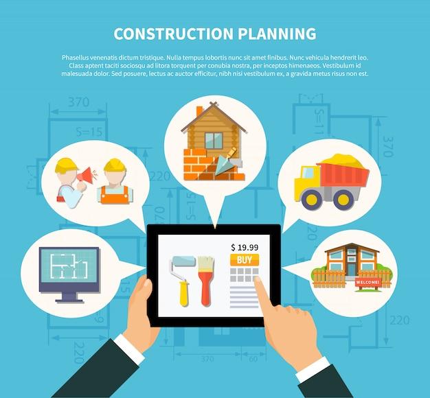 Conceito de diagrama de planejamento de construção plana Vetor grátis