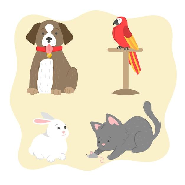 Conceito de diferentes animais de estimação Vetor grátis