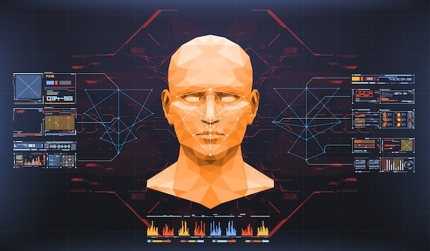 Conceito de digitalização de rosto. tecnologia biométrica de reconhecimento facial precisa e conceito de inteligência artificial. interface de detecção de rosto hud. Vetor Premium