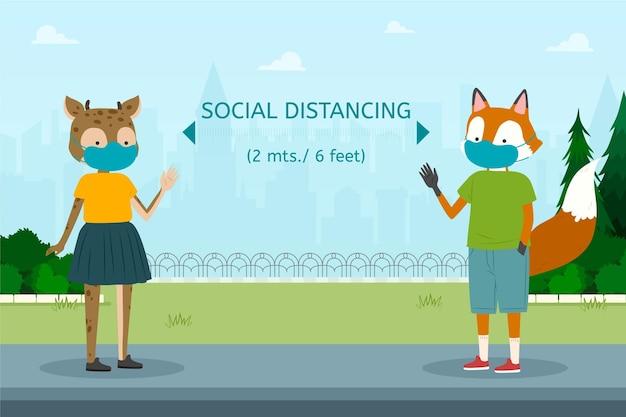 Conceito de distanciamento social com animais Vetor grátis
