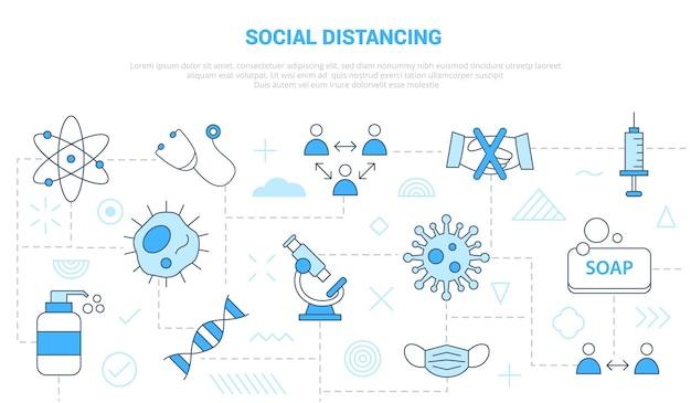 Conceito de distanciamento social com conjunto de ícones de banne de modelo Vetor Premium
