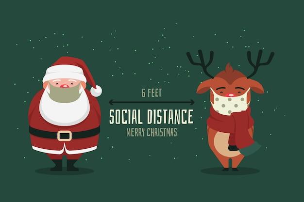 Conceito de distanciamento social com personagens de natal Vetor grátis