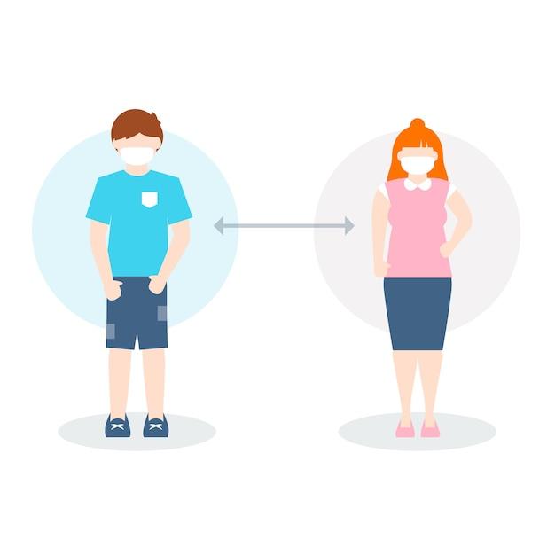 Conceito de distanciamento social ilustrado Vetor grátis