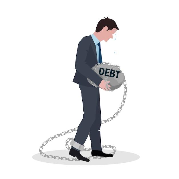 Conceito de dívida de negócios com empresário segurando pedra na ilustração vetorial de corrente Vetor Premium