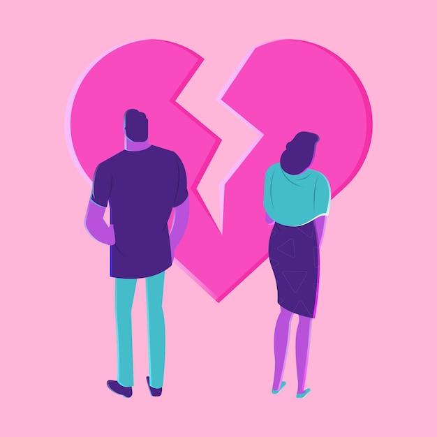 Conceito de divórcio com coração partido Vetor grátis