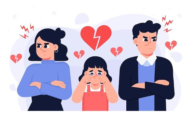 Conceito de divórcio com criança e pais a chorar Vetor Premium