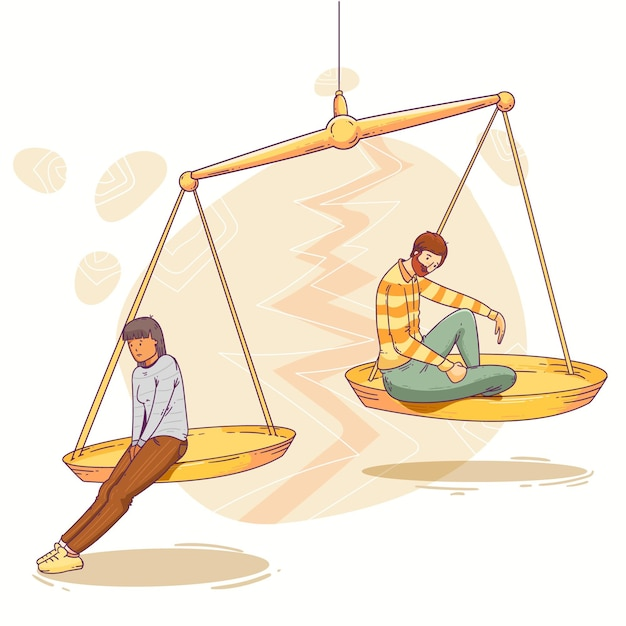Conceito de divórcio com escala Vetor grátis