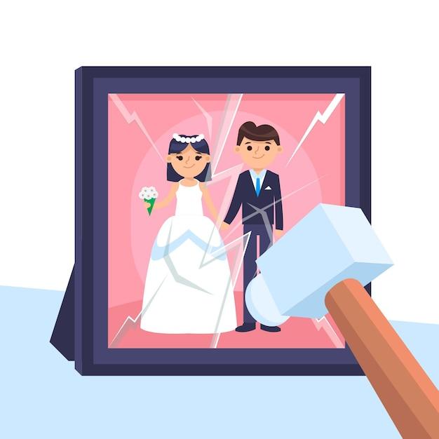 Conceito de divórcio com quebra de quadro com martelo Vetor grátis