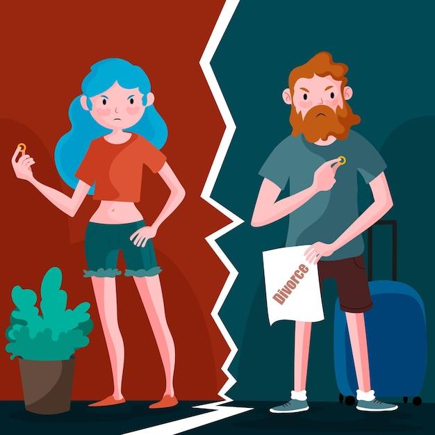 Conceito de divórcio ilustrado Vetor grátis